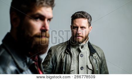 Barbershop Concept. Men Handsome With Beard And Mustache Facial Hair. Barber And Beard Grooming. Mas