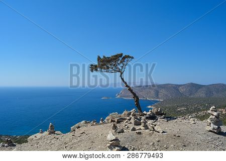 Beautiful Andscape From Ruins Of Monolithos Castle On The Rhodes Island In Summer, Greece.