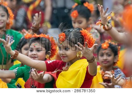 Kolkata , India - March 1,2018 : Girl Child Dancers Performing At Holi -spring Festival, Known As Do
