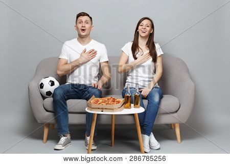 Joyful Couple Woman Man Football Fans In White T-shirt Cheer Up Support Favorite Team, Sing Hymn Wit