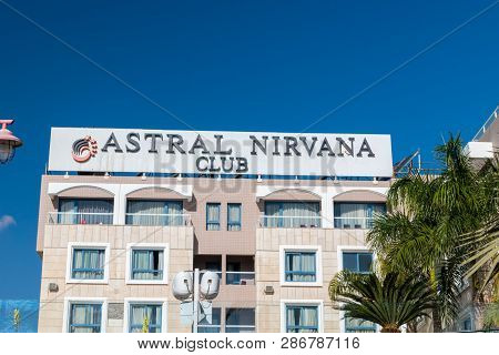 Eilat, Israel - February 9, 2019: Logo And Sign Of Astral Nirvana Club Hotel In Eilat.