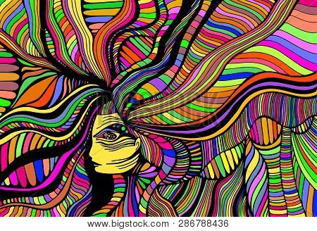 Psychedelic Fantasy  Beautiful Girl. Vector Hand Drawn Illustration With Fantastic Surreal Woman. Cr