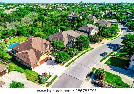 Nice Mansion Homes On Curved Modern Street Aerial Drone View Above Houses And Rooftops Of Suburbia N
