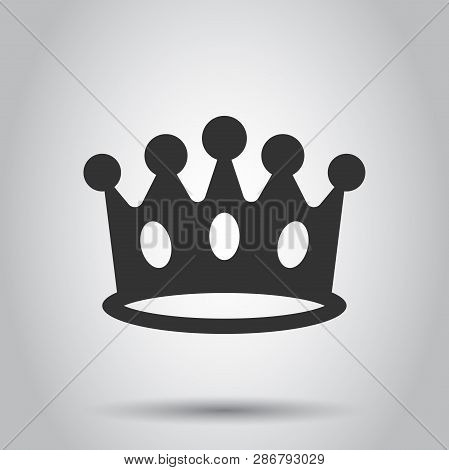 Crown diadem vector icon in flat style. Royalty crown illustration on white background. King, princess royalty concept. poster