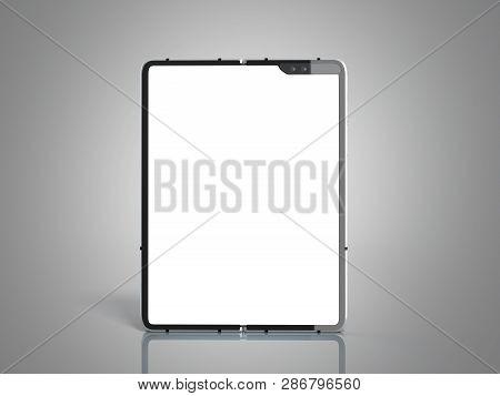 Modern Flexible Smart Phone White Screen For Mockup 3d Render On Grey