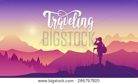 Tourist Traveler With Binoculars At Sunset. Extreme Hike In The Wild Illustration. Mountain View Of