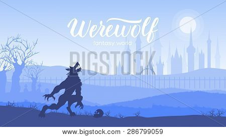 Dark night a werewolf howling at the moon on midnight. Wolf on landscape background of the forest and the castle howling to the moon. Happy Halloween vector illustration concept poster