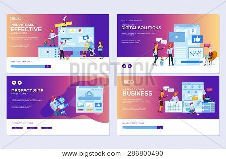Modern Flat Set Of Effective Website Designs. Template Of Web Page Design For Website Illustration.