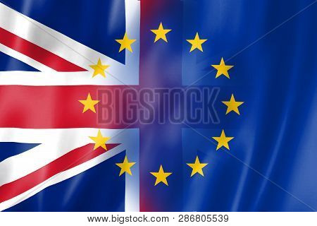 Brexit Is The Uk Exit From The European Union. Flag Of Great Britain And The European Union.