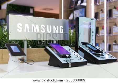 Belgrade, Serbia - February 21, 2019: New Samsung Galaxy S10, S10e And S10+ Mobile Smartphones Are D