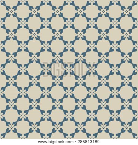 Golden Geometric Seamless Pattern. Vector Abstract Blue And Gold Texture With Flower Shapes, Crosses