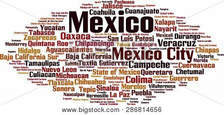 Cities In Mexico Word Cloud Concept. Vector Illustration On White