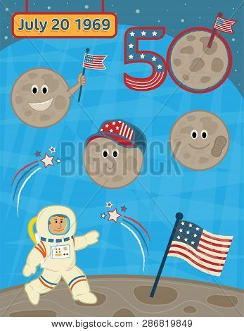 Cute Vector Set For Landing On The Moon Anniversary. Eps10