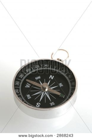 The Black Compass Is On A White Background