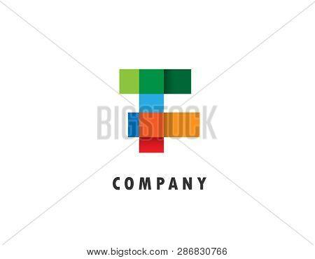 F Letter Geometric Logo- White Background Illustartion Design