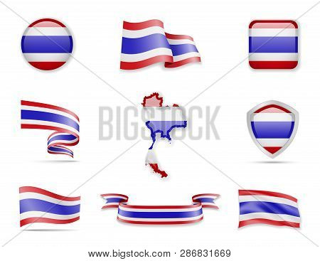 Thailand Flags Collection. Vector Illustration Set Flags And Outline Of The Country.