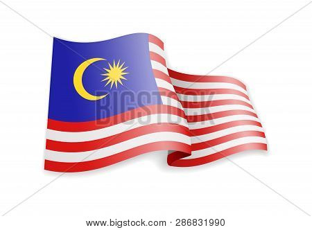 Malaysia Flag In The Wind. Flag On White Vector Illustration