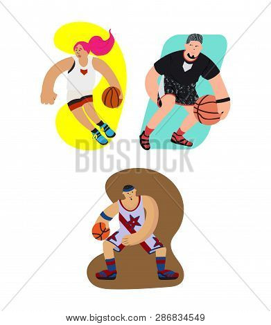 Cartoon Basketball Players Set With Dribbling Motion And Exaggeration