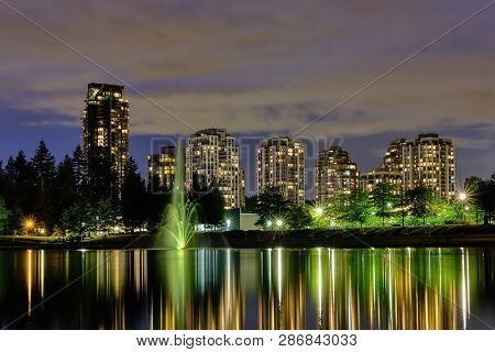 Night Scape City View, Coquitlam, Greater Vancouver Area, Canada