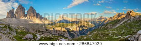 Panorama of Famous Tre Cime di Lavaredo at the morning, Dolomites Alps, Italy, European travel