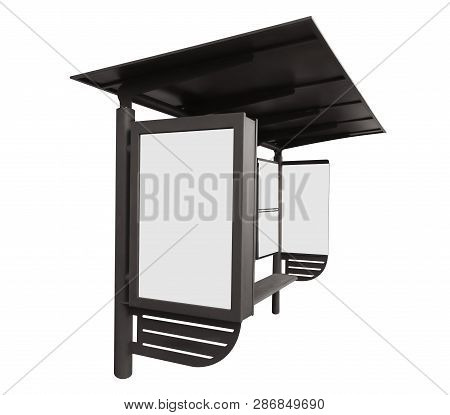 Bus Stop With Blank Banner Isolated On White Background. Clipping Path Included.