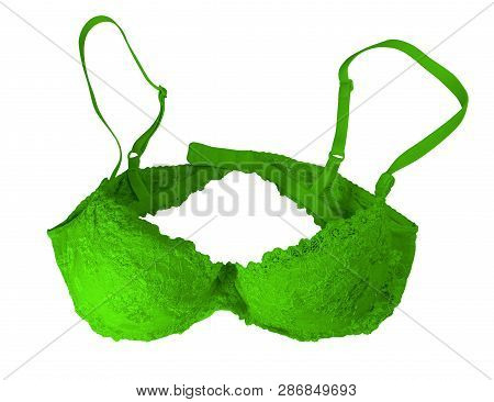 Green Lace Brassiere Isolated On White. Clipping Path Included.
