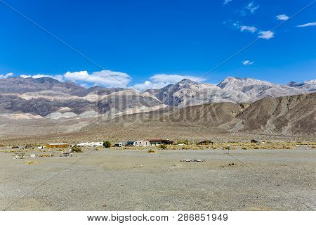 Overview Over Old Ghost Town And Former Gold Town Of Ballarat,  Panamint Mountains In The Background