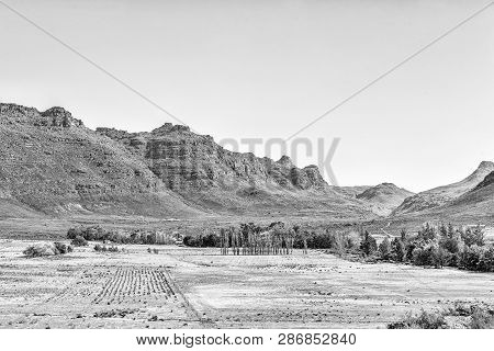 A Farm Landscape At Kromrivier In The Cederberg Mountains Of The Western Cape Province. Monochrome
