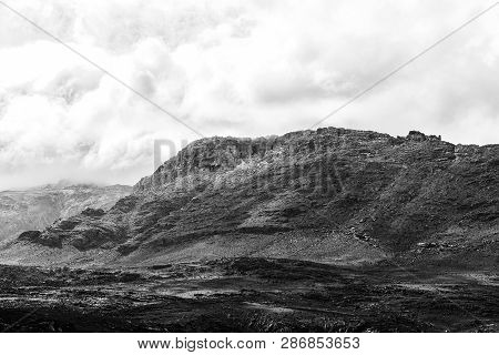 A Mountain Landscape In The Cederberg Mountains Of The Western Cape Province. Snow And The Wolfberg