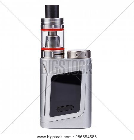 Vaping device, electronic cigarette, nicotine free vape isolated on the white background. Vapor box mod tank with vaping liquid. Smoke addiction quit equipment