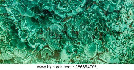 Malachite green mineral gemstone texture,malachite background, green background. Amazing polished natural slab of green malachite mineral gemstone specimen gemstone macro as a background