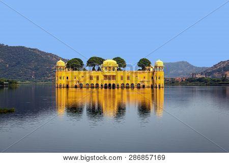 Water Palace (jal Mahal) In Man Sagar Lake. Jaipur, Rajasthan, India.