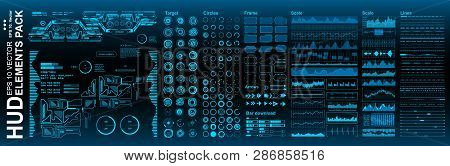 Hud Elements Mega Pack Set. Dashboard Blue Display Virtual Reality Technology Screen. Futuristic Blu