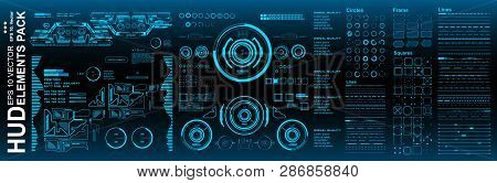 Dashboard Blue Display Virtual Reality Technology Screen. Hud Futuristic User Interface, Target. Hud