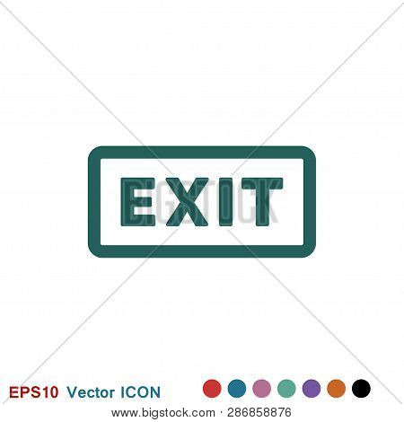 poster of The exit icon. Logout and output, outlet, out symbol. Vector logo