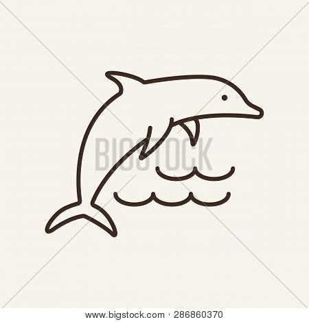 Dolphin Line Icon. Ocean, Jumping, Wave. Underwater Concept. Can Be Used For Topics Like Ocean, Fish