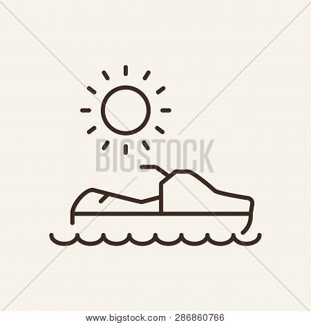 Jet Ski Line Icon. Summer, Motorboat, Vacation. Resort Concept. Can Be Used For Topics Like Resort,