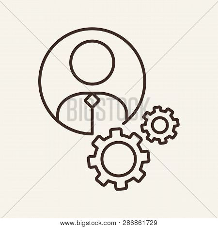 Work Line Icon. Profile, Engineer, Account Settings. Employment Concept. Can Be Used For Topics Like
