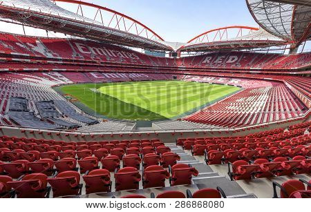 Lisboa, Portugal - April 2018: Overview On Estadio Da Luz - The Official Playgrounds Of Fc Benfica