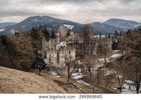 Ruins Of Castle Sklabina In Slovaka. Region Turiec