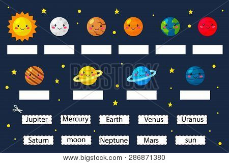 Learn The Planets, Educational Game For Preschool Kids. Cut And Glue Planets Name. Solar System. Car