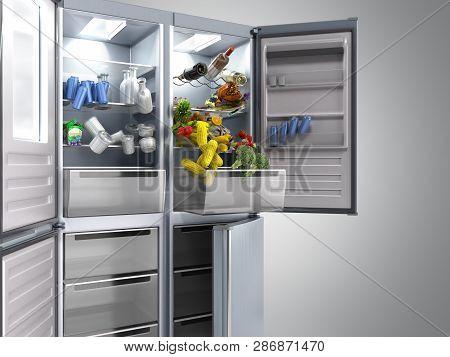 Open Stainless Steel Modern Refrigerator On Grey 3d Illustration