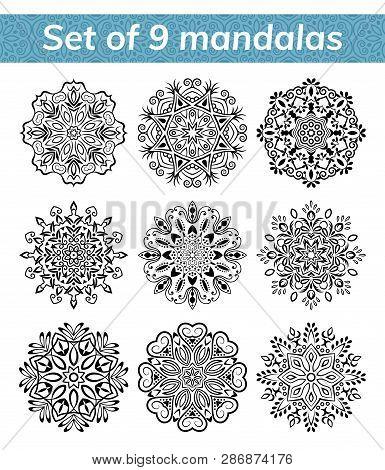 Mandala set. Indian antistress medallion. Abstract islamic flower, arabic henna design, yoga symbol. Collection of mandalas on white background. Vector illustration poster