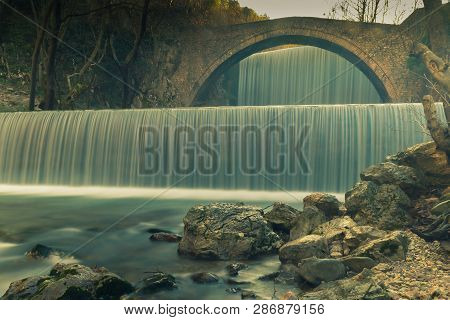 Waterfall Of Palaiokaria At Trikala In Greece. Long Exposure.
