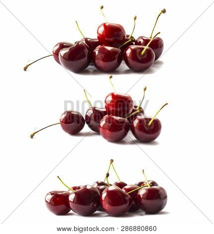 Set Of Cherry Fruits. Fresh Red Cherries Isolated On White Background. Cherry Fruit With Copy Space