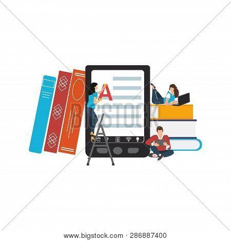 Ebooks Concept. Searchable Digital Library, Education Online, E-learning, Easy Access Knowledge. Vec