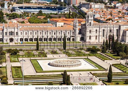 Lisbon, Portugal - 8 August 2013: Aerial Sunny View Of Praca Do Imperio In Lisbon, With Museu De Mar