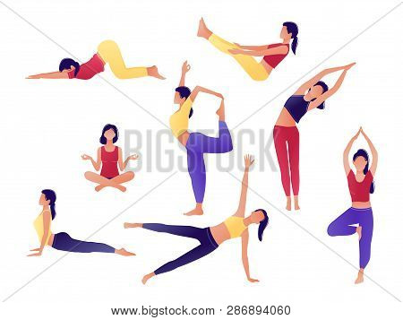 Yoga Workout Girl Set. Women Doing Yoga Exercises. Can Be Used For Poster, Banner, Flyer, Card, Webs