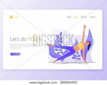 Landing Web Page Template Of Yoga School, Studio. Modern Flat Design Concept Of Web Page Design For