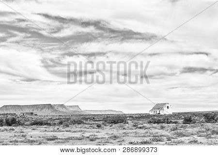 An Old Ruin In The Tankwa Karoo In The Northern Cape Province. Monochrome